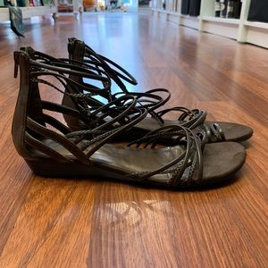Decree Strappy Zip Back Wedge Sandal Brown